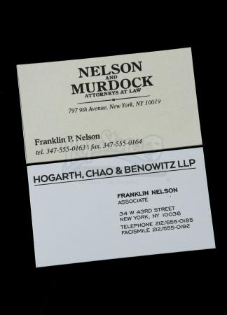Lot # 3: Franklin 'Foggy' Nelson's Business Cards